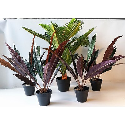 Lot of 5 Artificial Palm and plants in pots.