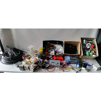 Bulk lot of Assorted Hardware including Light bulbs, Irrigation hose, electrical Fittings and More
