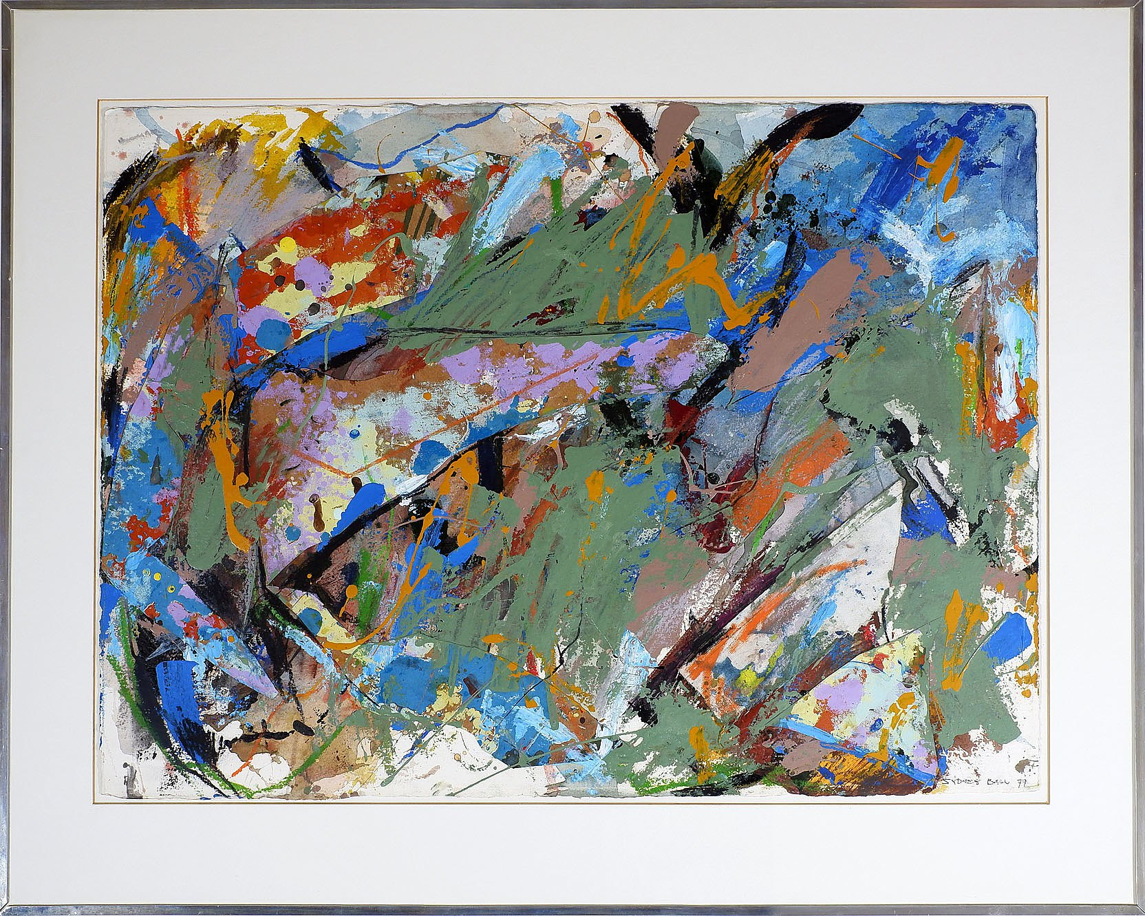 'Sydney Ball (b. 1933), Crystal Falls 1977, Collage and Mixed Media on Arches Paper'