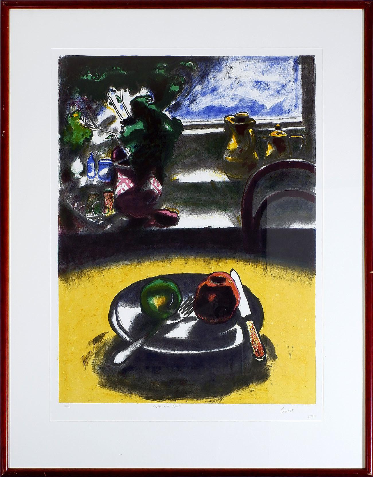 'Fred Cress (1938-2009), Apple and Plate, Colour Lithograph'