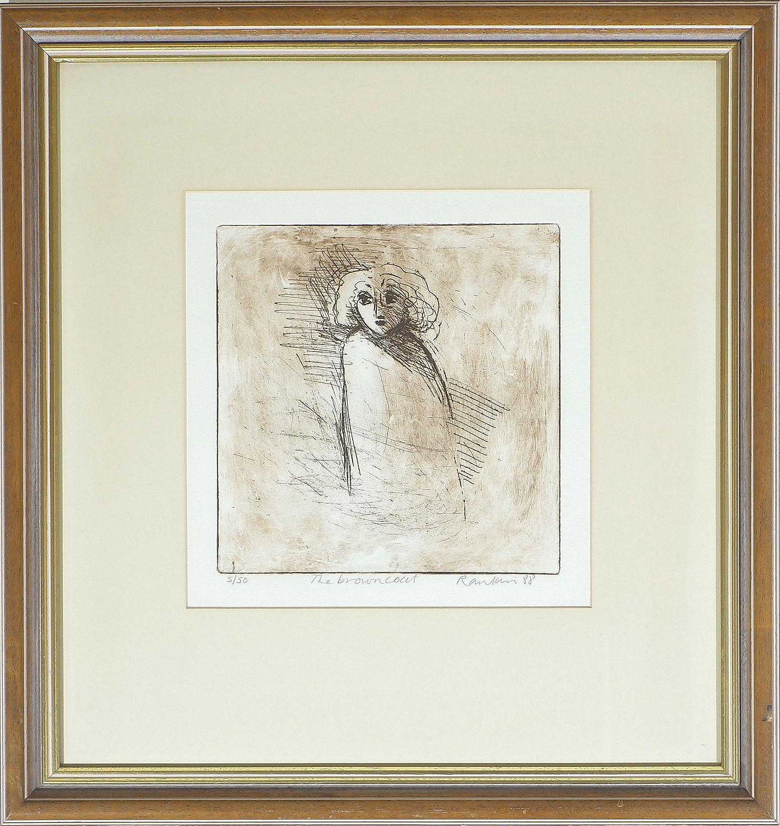 'David Rankin (b. 1946) The Brown Coat, Tinted Etching Edition 5/50'