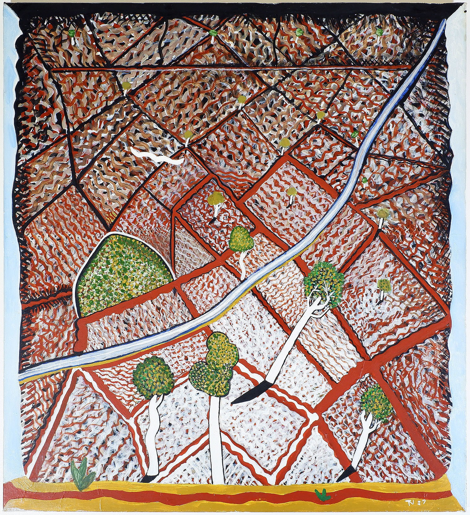 'Trevor Nickolls (1949-2012) The River, Acrylic on Canvas'
