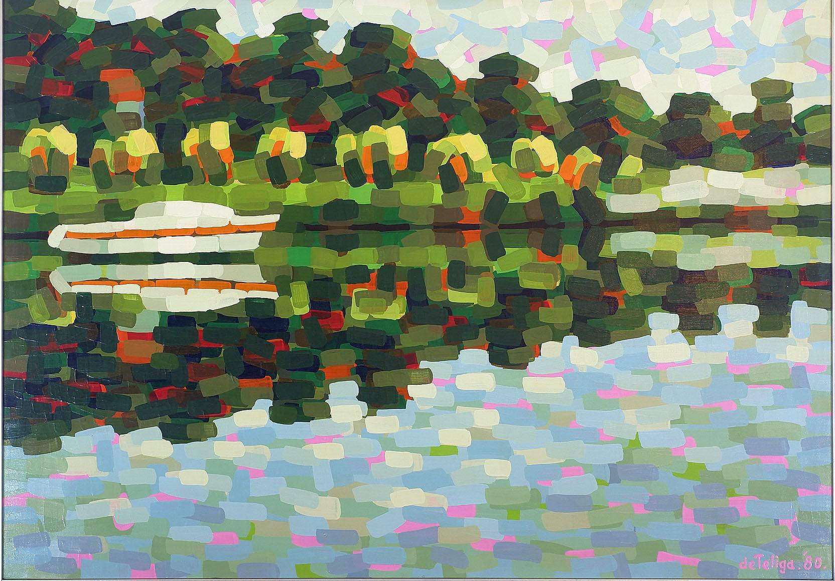 'Stan De Teliga (1924-1998) Bayview Shore 1980, Acrylic on Canvas'