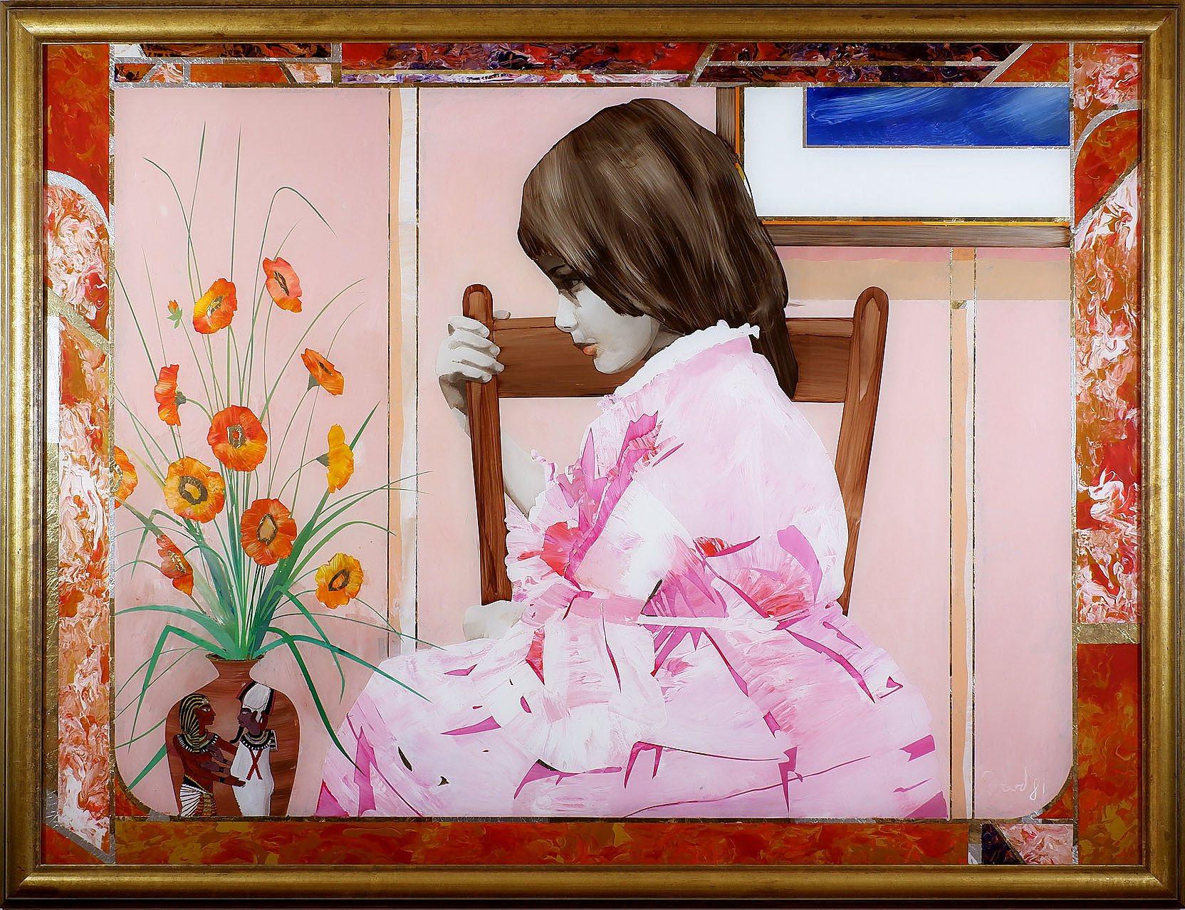 'Geoffrey Proud (b. 1946), Girl in Pink Dress, Mixed Media on Glass'