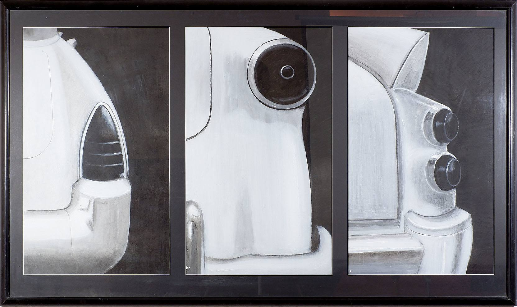 'Artist Unknown, Car Tail Light Triptych, Mixed Media on Paper'