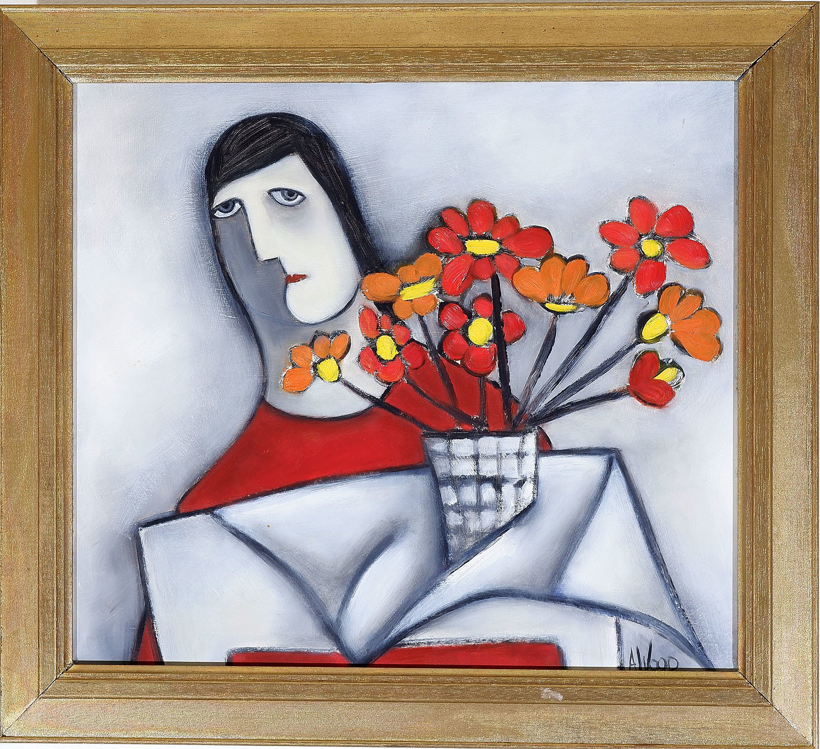 'Agnes Wood (1921-2013) Woman and Still Life II 1988, Oil on Board'