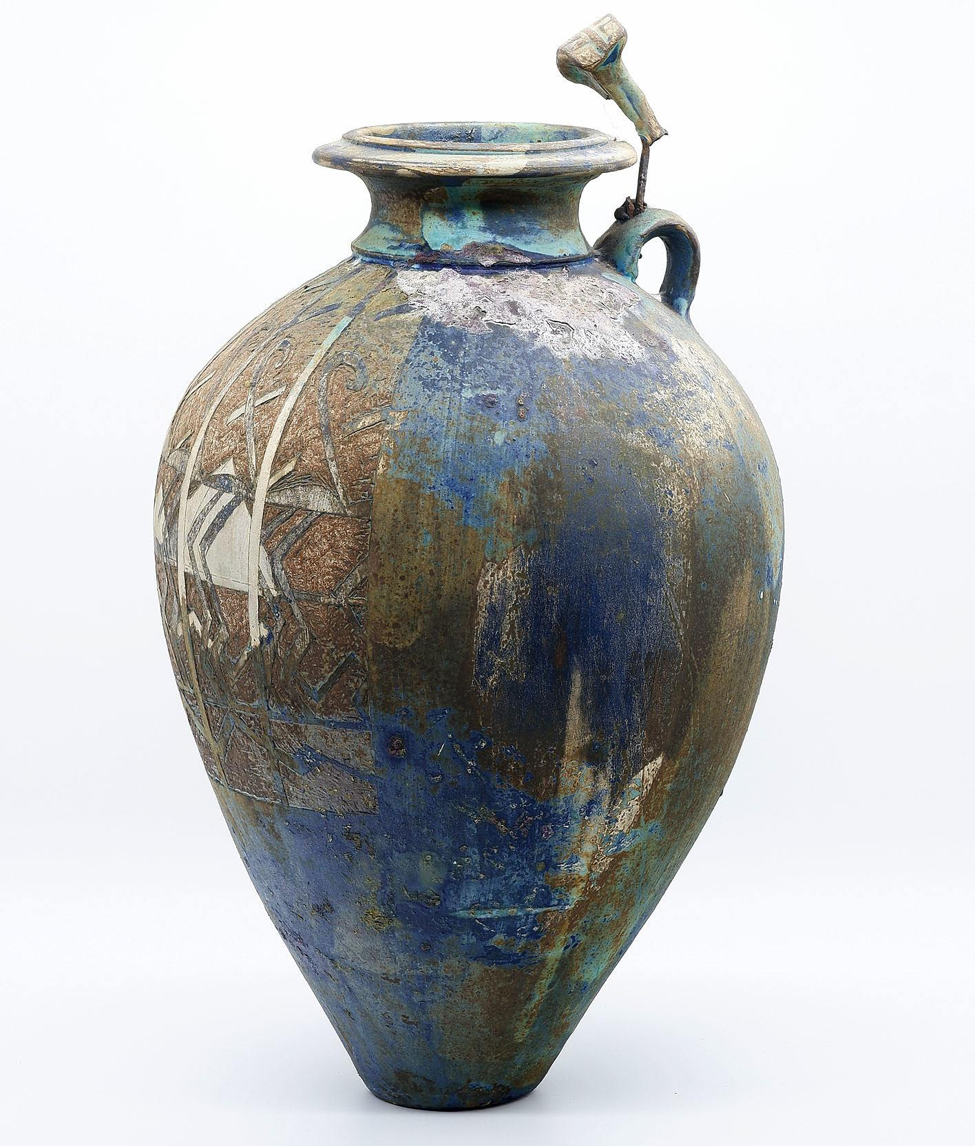 'Alan Peascod (b. 1943) Attributed Carved and Glazed Stoneware Urn'