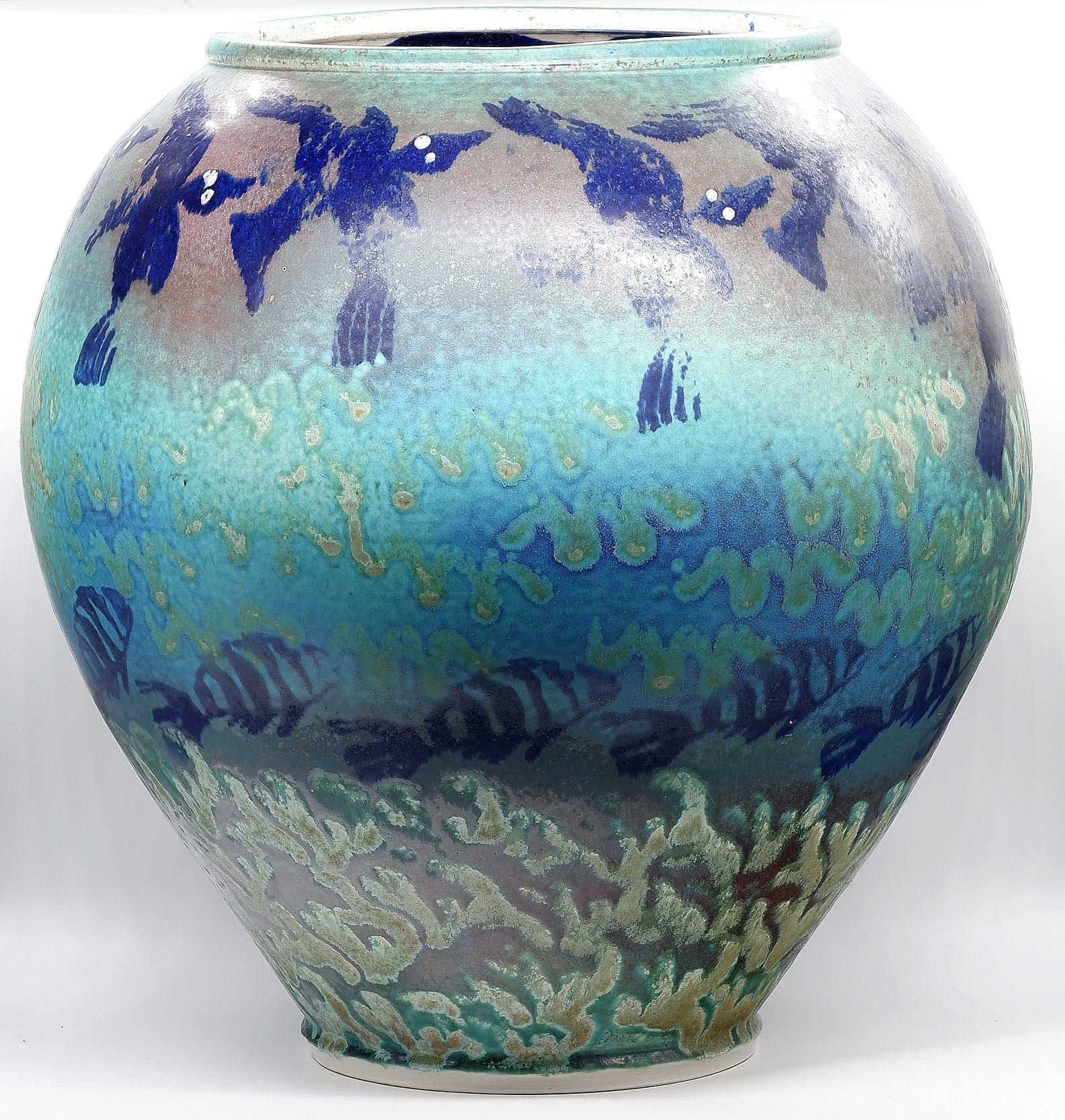 'Large Glazed Stoneware Urn'