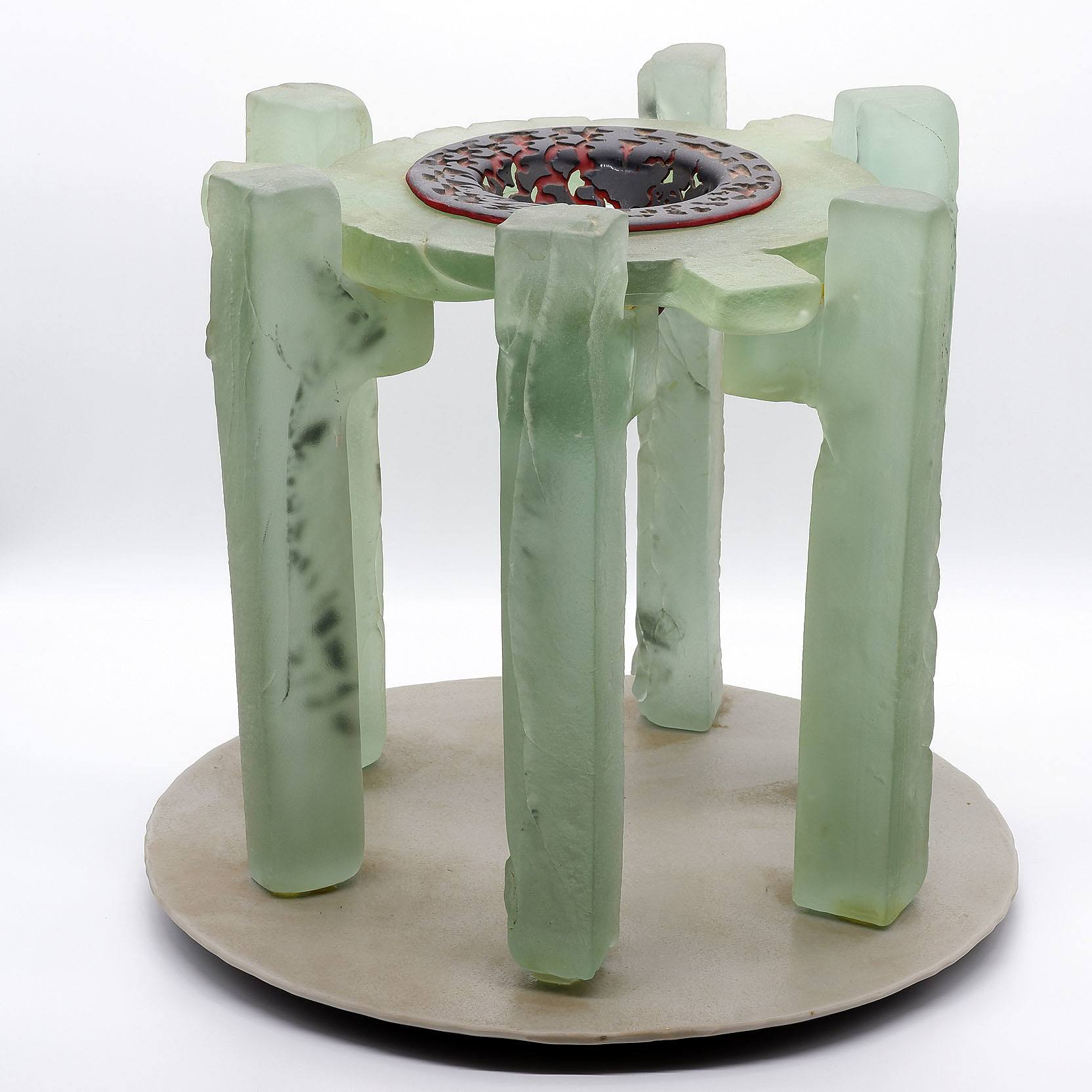 'Large Cast, Fused, Slumped and Acid Etched Glass Centerpiece'