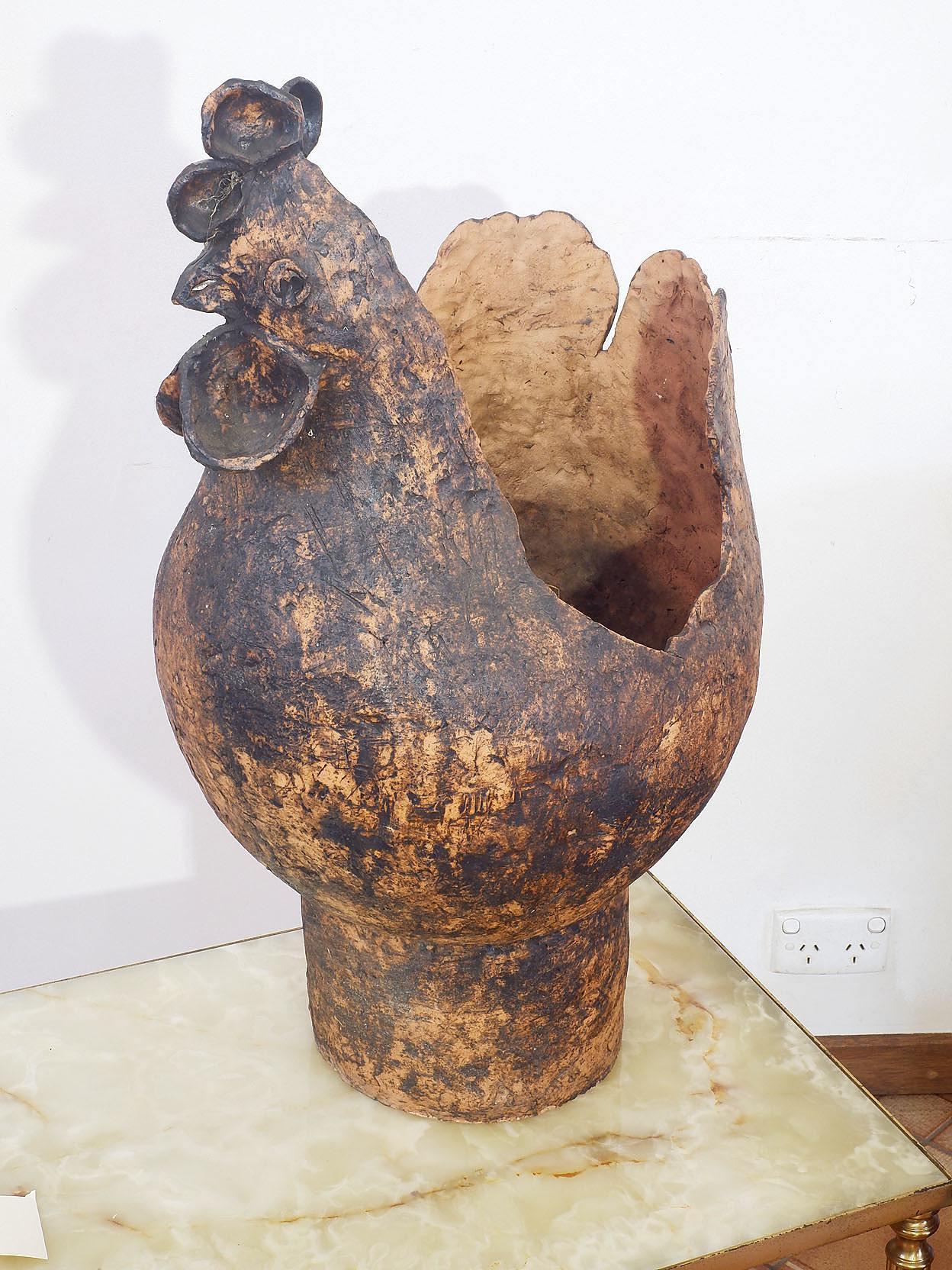 'Hand Built Terracotta Sculptural Chicken Vessel'