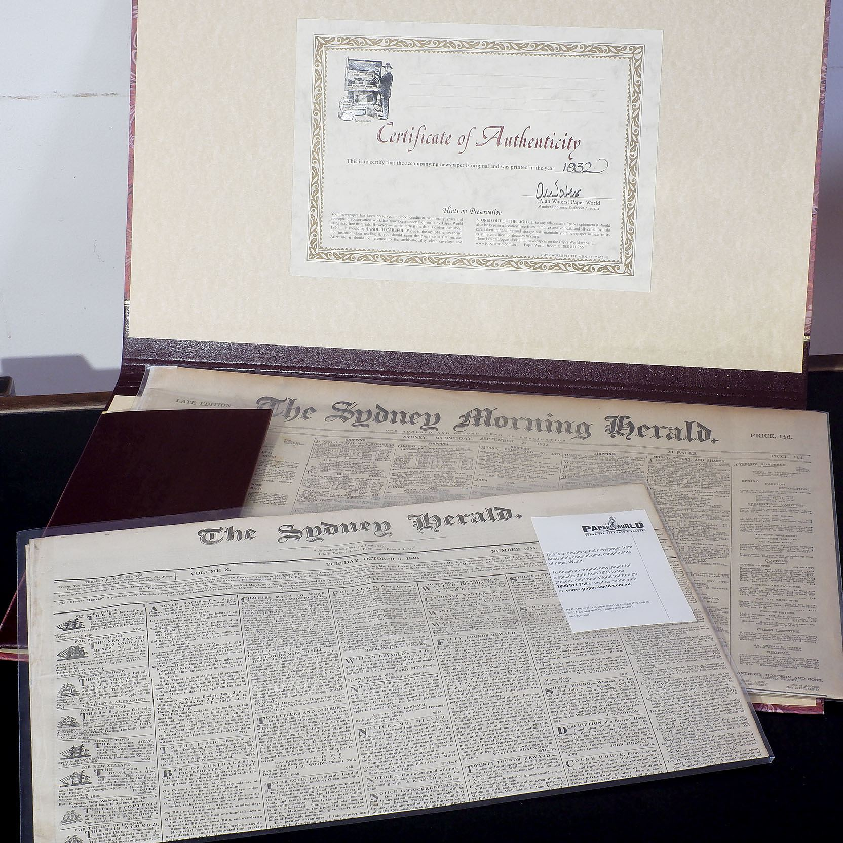 'Two Sydney Newspaper Excerpts Dated 1840 and 1932'