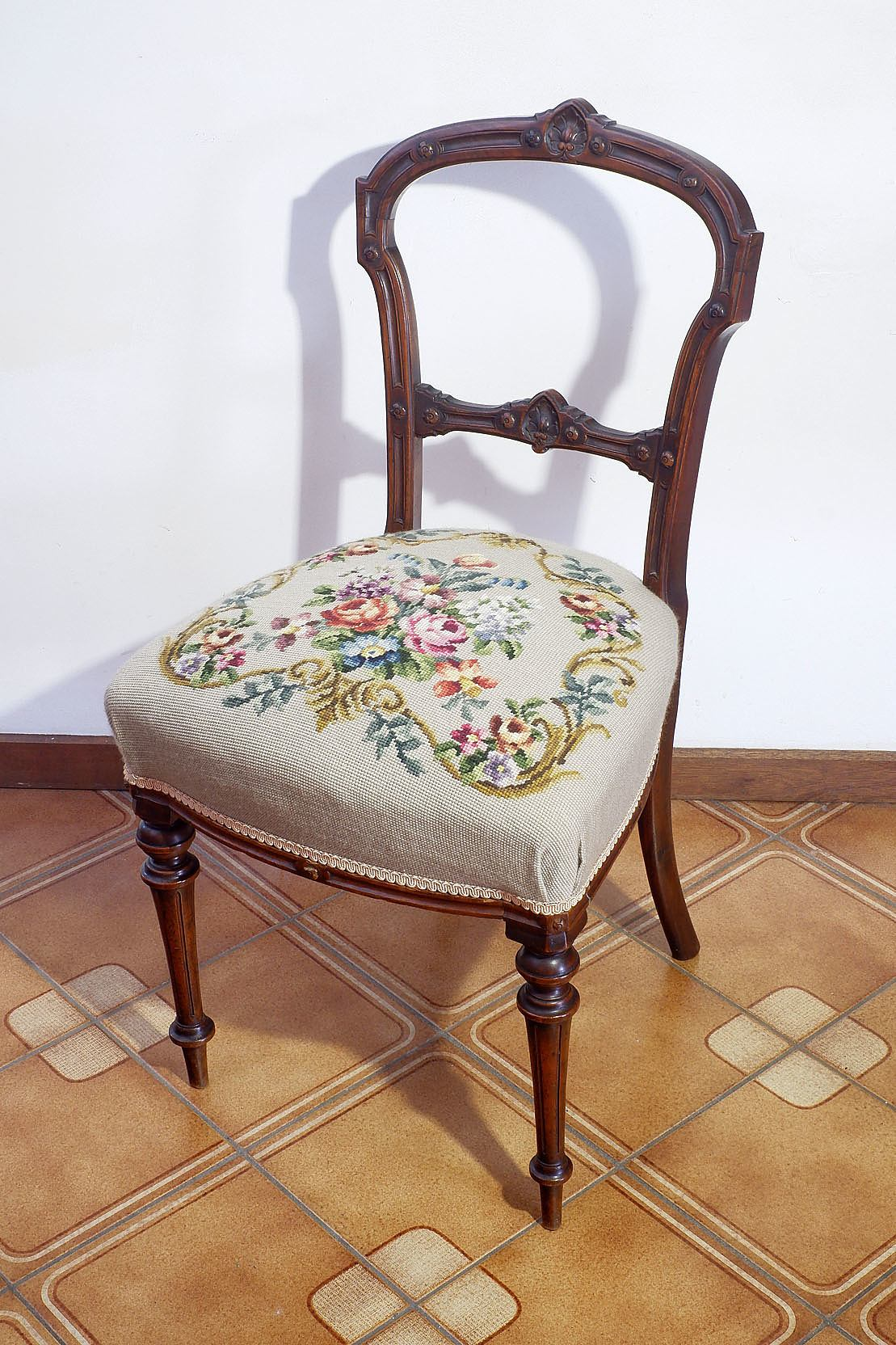'Late Victorian Walnut Tapestry Chair'