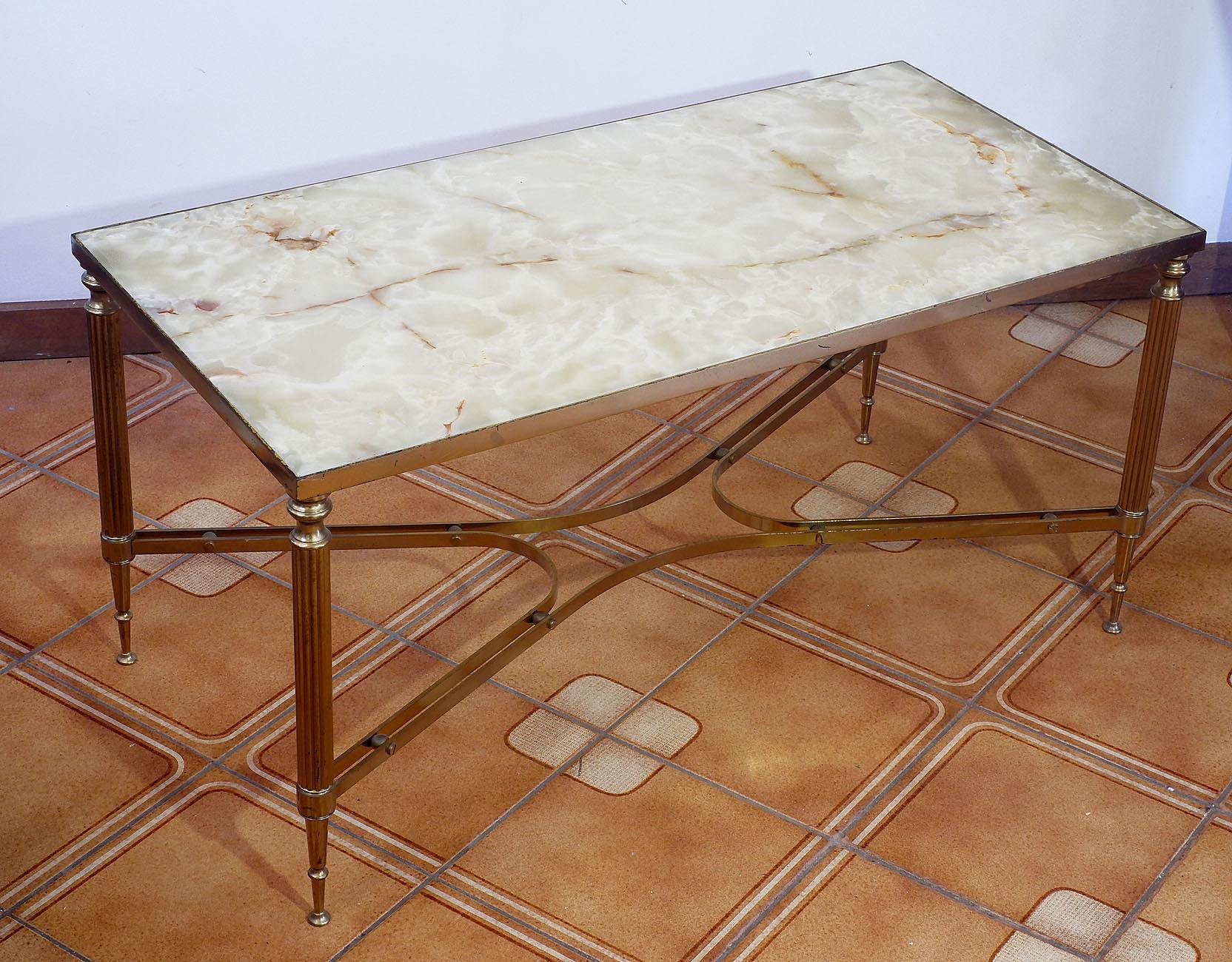 'Retro Chic Brass and Onyx Coffee Table'