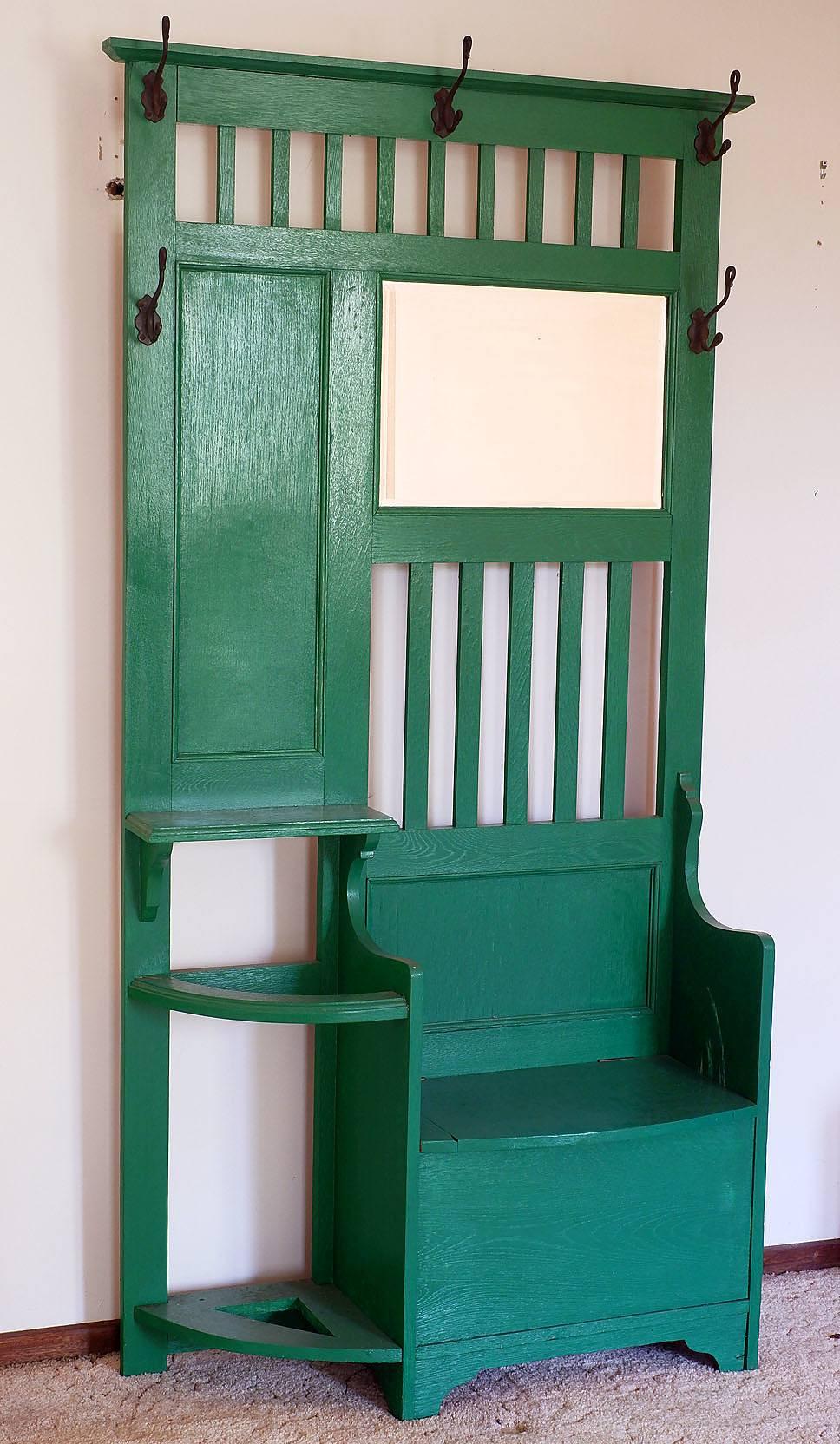 'Green Painted Edwardian Oak Hallstand Circa 1910'