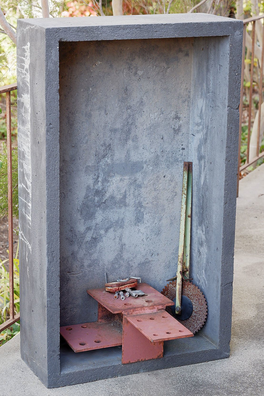 'Abstract Sculpture, Cast Concrete with Assemblage of Found Steel Objects'