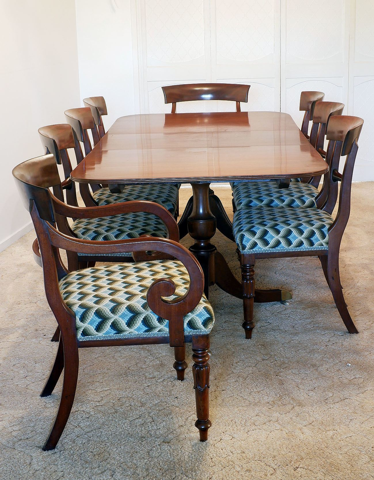 'Regency Style Mahogany Extension Table and Eight Chairs '