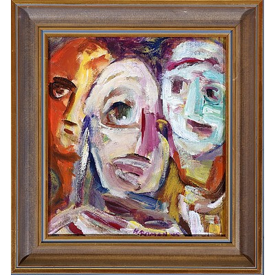 Handzia Roman, Masks I, Acrylic on Board