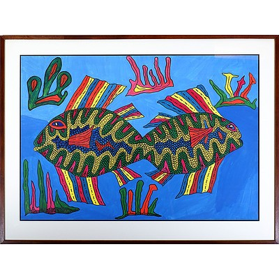 Matthias Kauage (1944-2003 Papua New Guinea) Acrylic on Paper