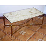 Retro Chic Brass and Onyx Coffee Table