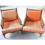 Pair of Vintage Maple Armchairs with Baroque Inspired Upholstery