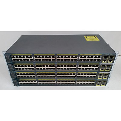 Cisco Catalyst 2960 Series 48-Port Managed Switch - Lot of Four