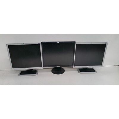 Assorted Lot of Seven LCD Monitors - Samsung, HP & NEC