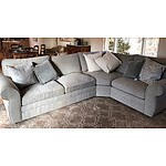 Pottery Barn Pearce Collection Grey Fabric-Upholstered Three-Piece Lounge