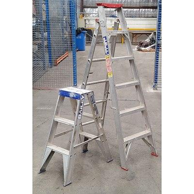 2x Aluminium Step Ladders