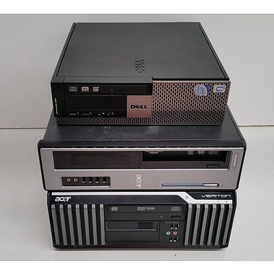 Acer & Dell Core 2 Duo CPU Computers - Lot of Three