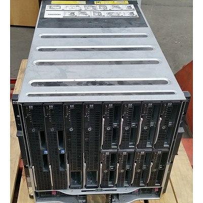 HP BladeSystem c7000 Enclosure 16-Bay Blade Server Chassis w/ 12 Blades