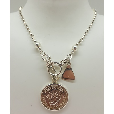 Von Treskow Sterling Silver T-Bar Necklace with 1953 Australian Shilling pendant