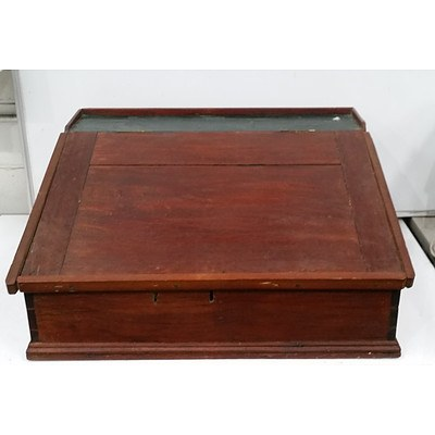 Antique Maple and Leather Tellers Desk