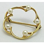 9ct Gold Cultured Pearl Brooch