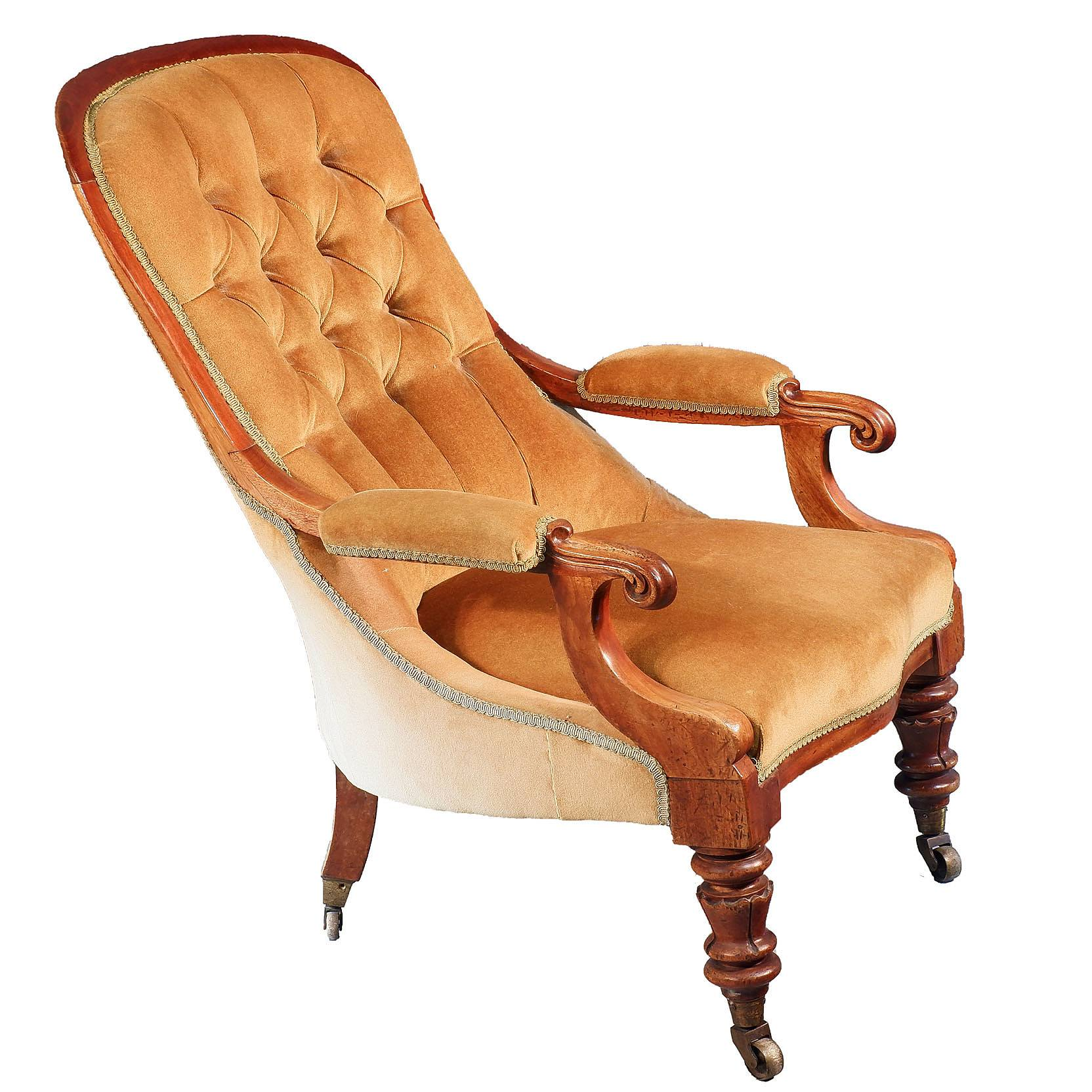 'Early Victorian Mahogany Salon Chair Circa 1850'