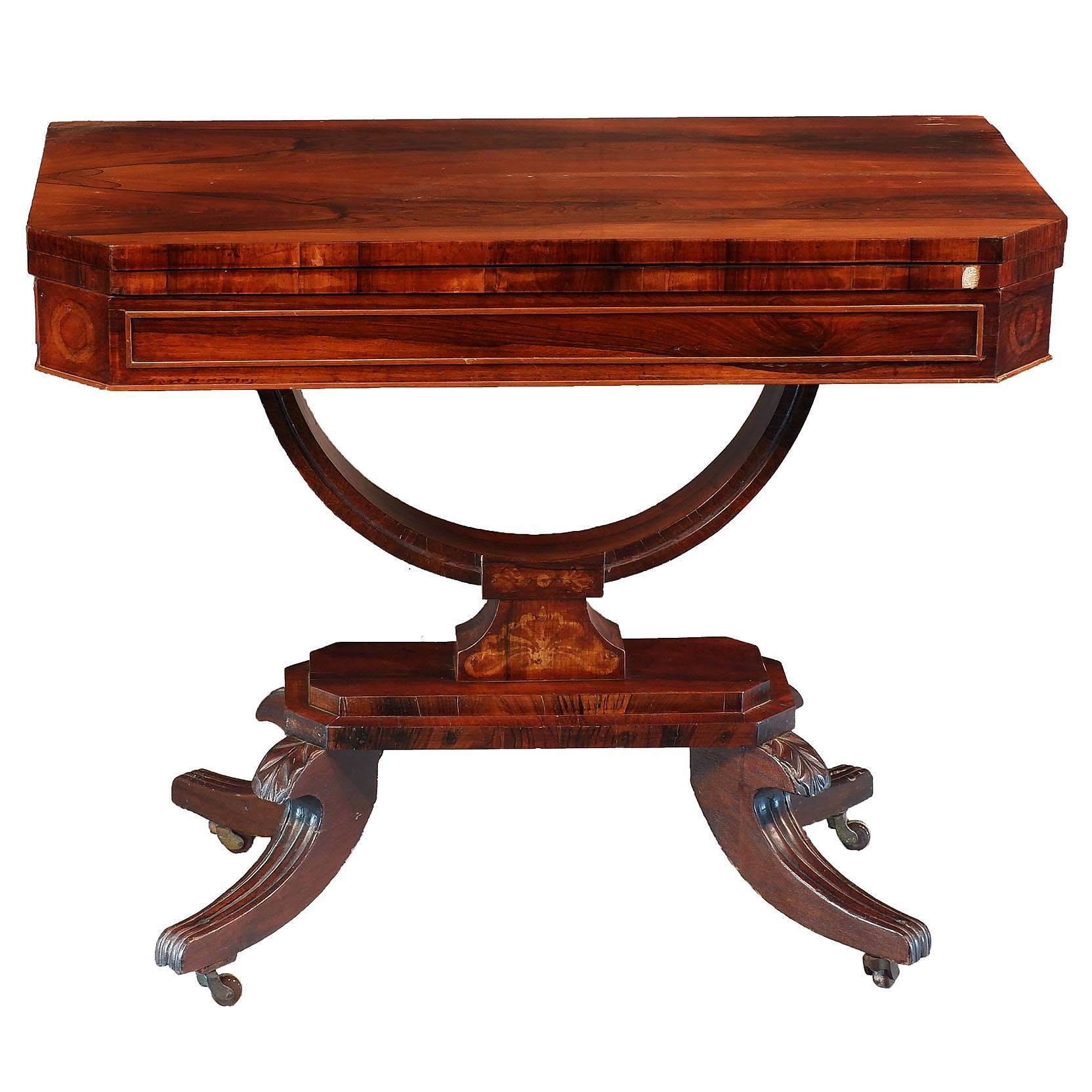 'Regency Brazilian Rosewood Foldover Card Table Circa 1820'