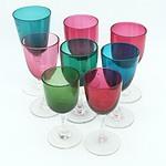 Eight Antique English Coloured Stem Glasses