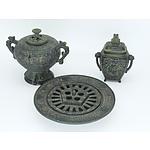 Three Cast Iron Japanese Censors