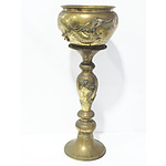Antique Japanese Brass Dragon Jardinière and Stand