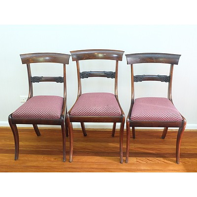 Seven Regency Rosewood Rail Backed Sabre Legged Dining Chairs