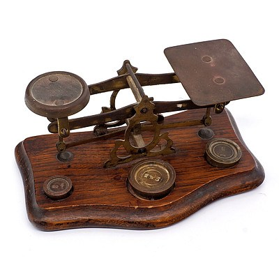 Antique Oak and Brass Letter Scales
