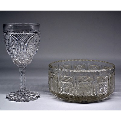 Elaborately Hand Cut Crystal Bowl and Wine Glass