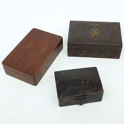 Crested Leather Bound Jewellery Box, A Tortoise Shell Jewellery Box and Another