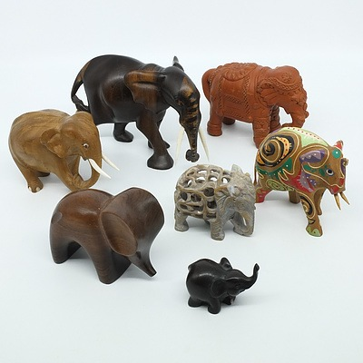 Group of Carved, Ceramic and Stone Elephants