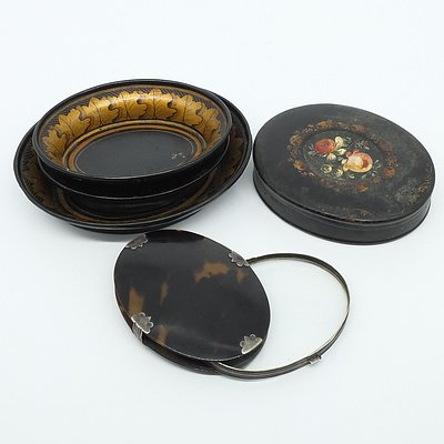 Antique Tortoiseshell and Silver Plated Magnifying Glass, Antique Hand Painted Floral Tin Pin Box, and Three Antique Papier Mache Bowls