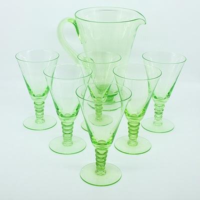 Uranium Glass Water Pitcher Set for Six