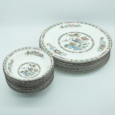 Eight Wedgwood Kutani Crane Dinner Plates and Bowls