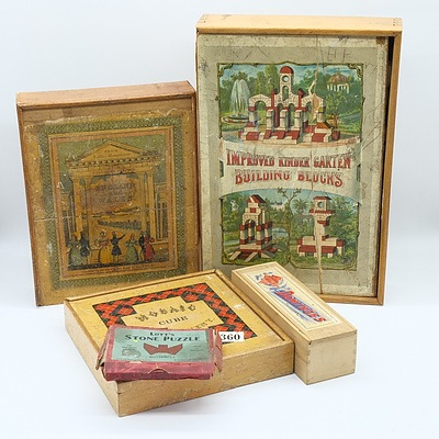 Group of Vintage Games and Puzzles Including Mosaic Cube Amusement, Dominos and More