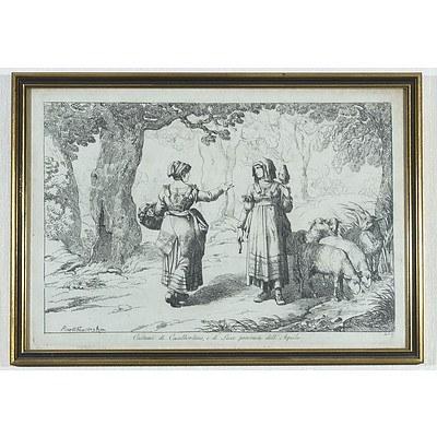 Two Framed Antique Engravings Including Costami di Casalbordino and Le Litanie a Tivoli
