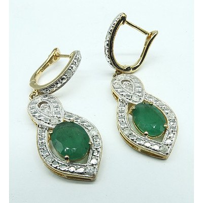 Pair of Silver Gold Plated Drop Earrings