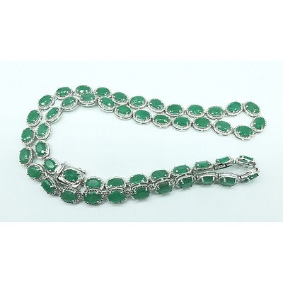 "Silver 925 17 1/4"" Necklace with 50 Oval Emeralds and 100 Round Diamonds by Orianne"
